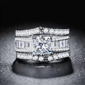 Jewelry - 925 silver princess cut white sapphire luxury 3pc